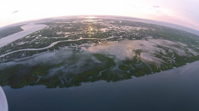 image from drone of coast